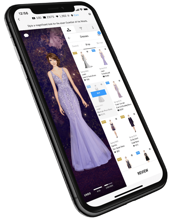 covet fashion app styling screen