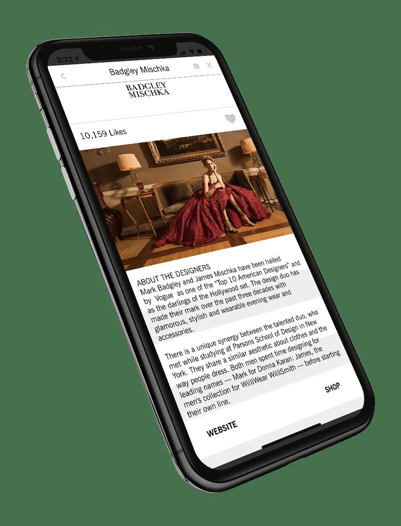 Covet Fashion app displaying designer information